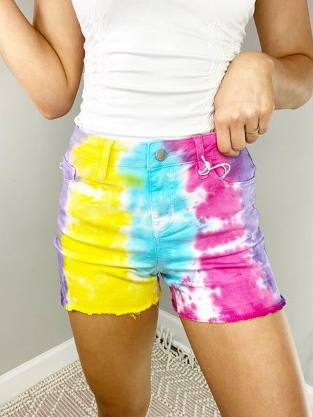 Judy Blue Snow Cone Tie Dye Cut Off Shorts