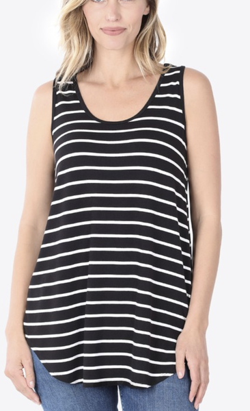 Stripe Sleeveless Top in Black/Ivory