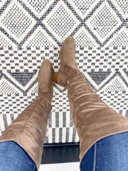 FASHION STYLE TAUPE HIGH THIGH BOOTS