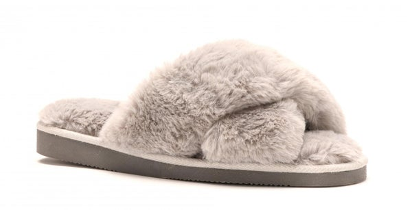 Corkys Slumber Faux Fur Slippers - Gray