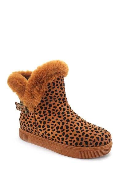 !Bamboo Fur Cuffed Comfort Cheetah Booties