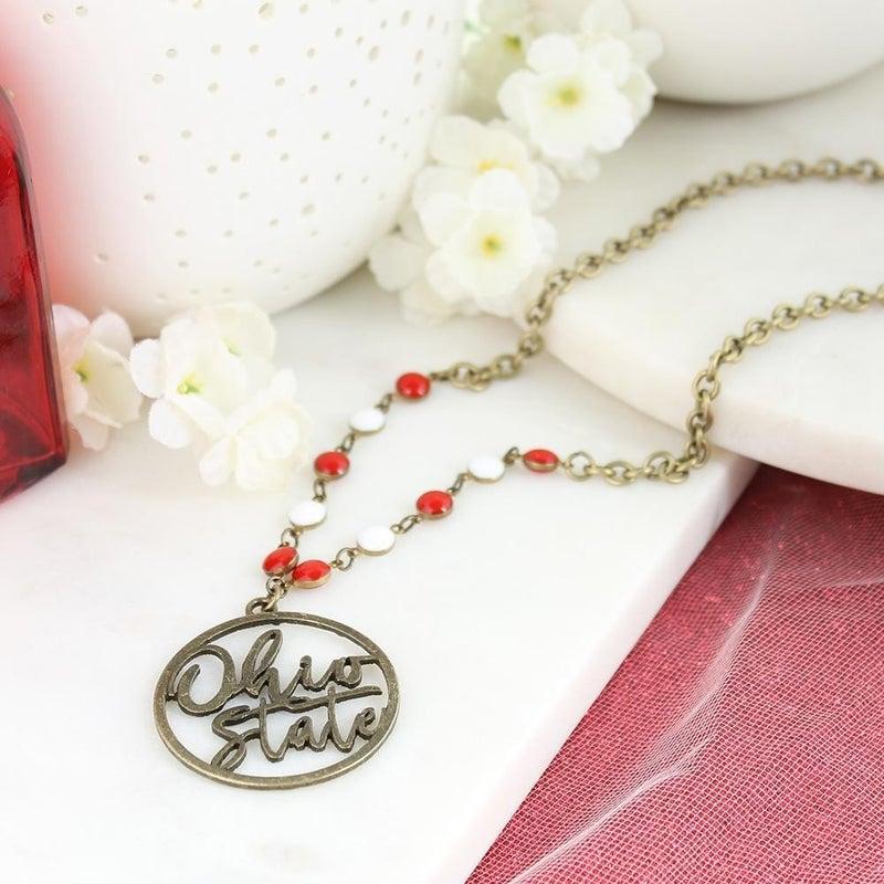 "34"" Ohio State Vintage Style Cutout Slogan Necklace"