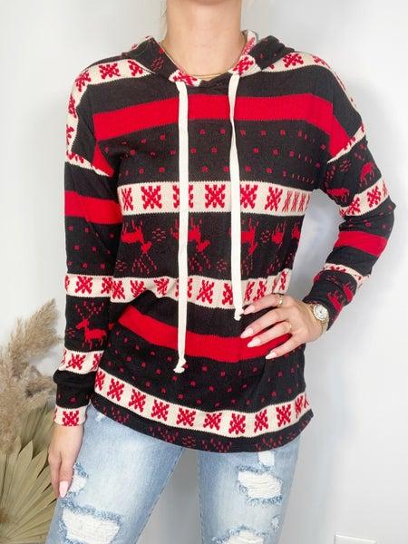 Honeyme Black & Red Deer Stripe Hoodie Sweater
