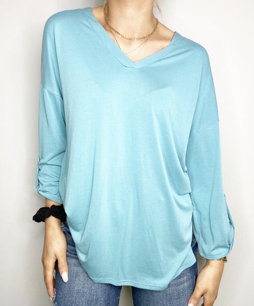 MED & 3XL ONLY HoneyMe Solid V-Neck Top with Roll Sleeve Button in Dusty Blue