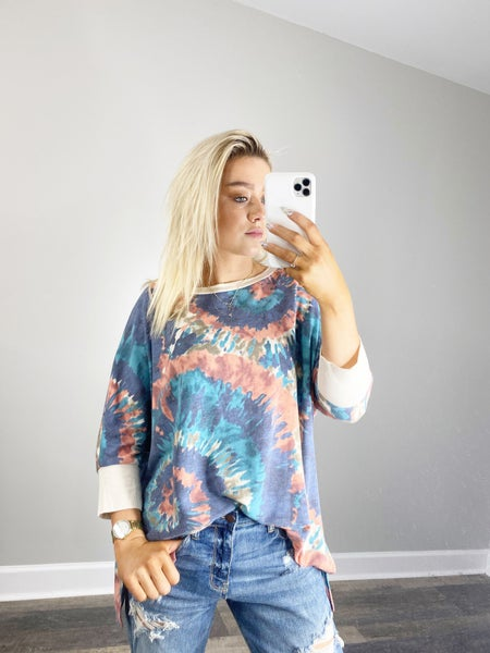 ! Honeyme Navy & Teal Tie Dye Burst Top