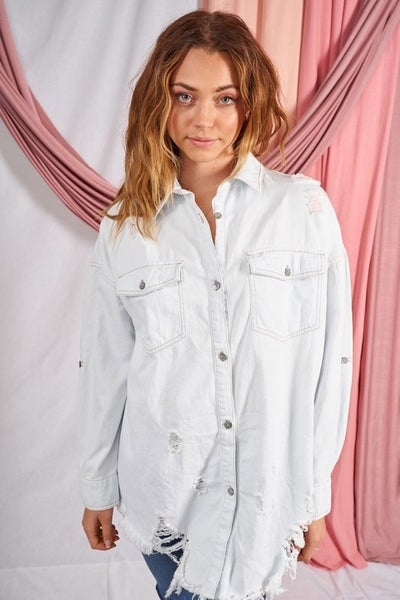 Long Sleeve Distressed Chambray Shirt Top in Light Denim Blue