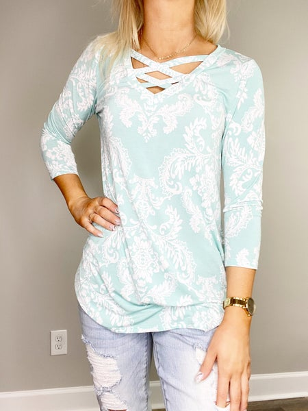 HoneyMe Mint Paisley Criss Cross V-Neck Top