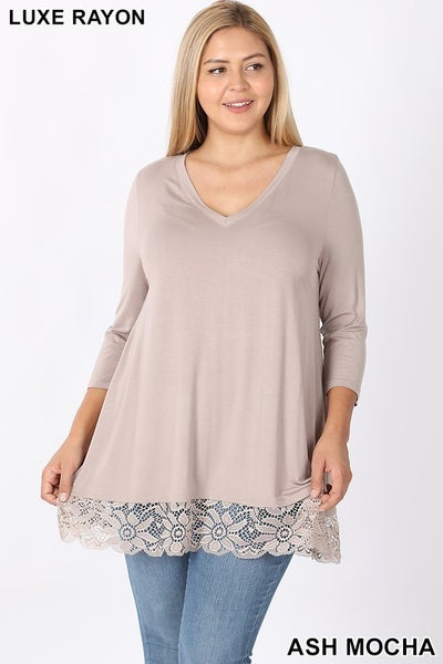 Luxe Rayon Lace Trim Hem Tunic Top in Ash Mocha