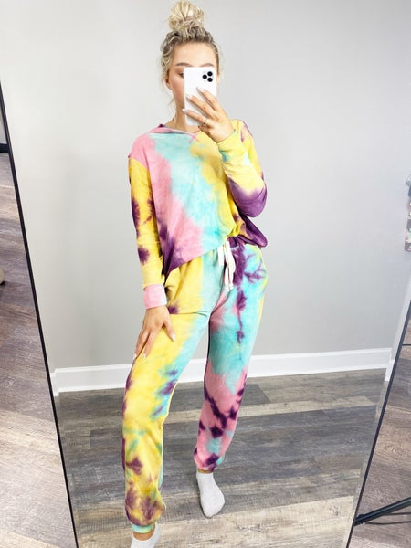 SMALL ONLY - Honeyme Pastel Tie Dye Hoodie Jogger Set
