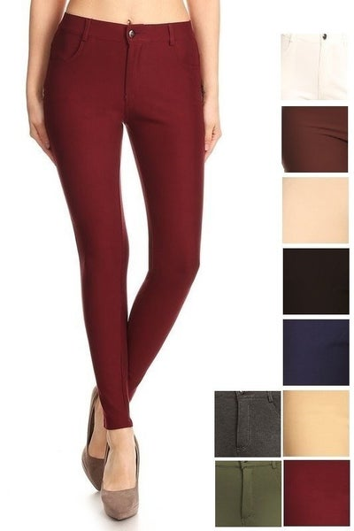 SMALL ONLY MAROON Zipper/Button front Ladies Ponte Pants - True to size *Final Sale*