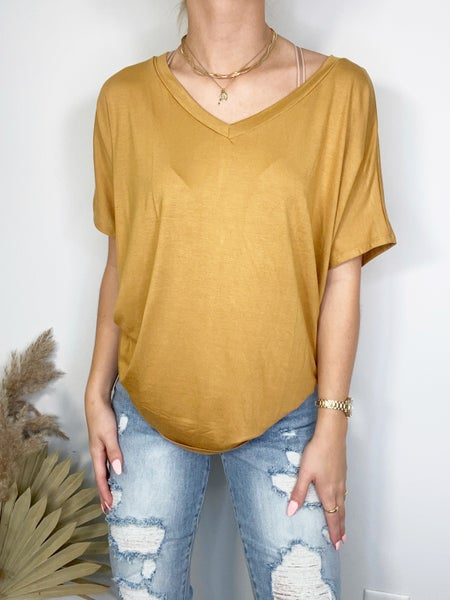 Gold Short Sleeve Dolman Top