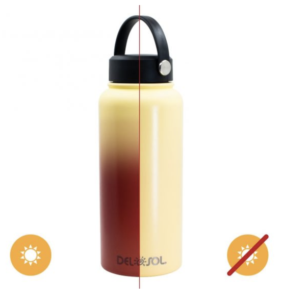 Del Sol Color Changing Water Bottle - Yellow to Orange
