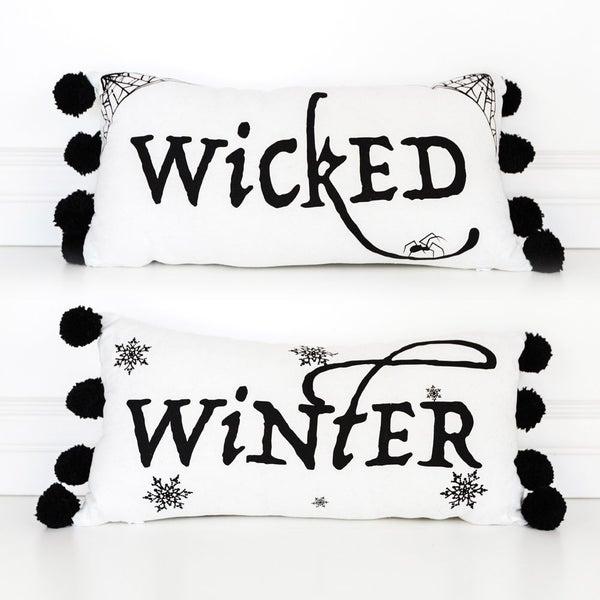 Winter/Wicked Reversible Linen Pillow