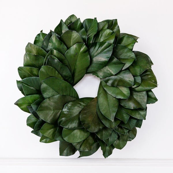 """$40 OFF - 16.5"""" REAL Preserved Magnolia Wreath"""