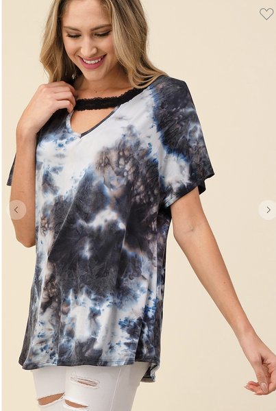 SMALL ONLY-Short Sleeve Black Tie Dye Top with Keyhole