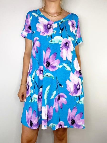 HoneyMe-Teal and Lavender Floral Dress