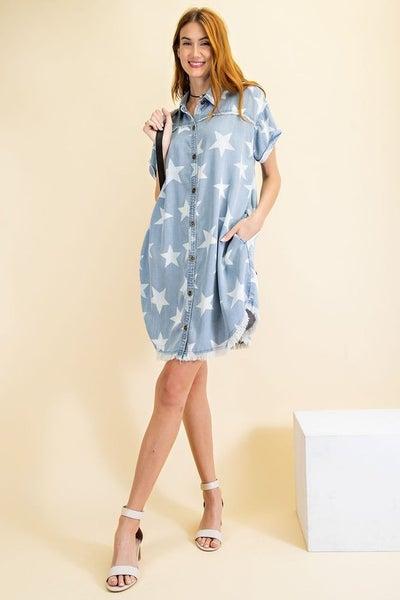 Twinkle Star Shirt Dress in Washed Denim