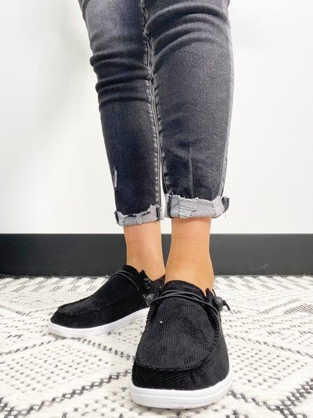 Corkys Kayak Black Corduroy Slip On Sneaker