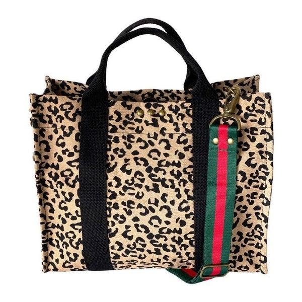 Sofia Canvas Crossbody Tote - Leopard