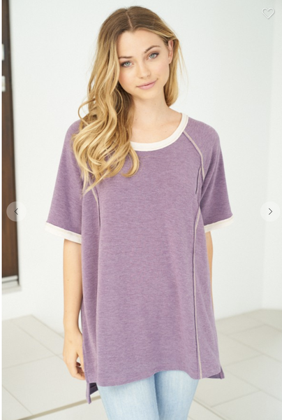 Short Sleeve Solid Purple Knit Top with Round Neck
