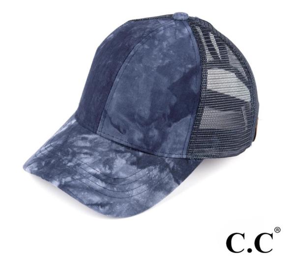 Navy Tie Dye C.C. Pony Cap
