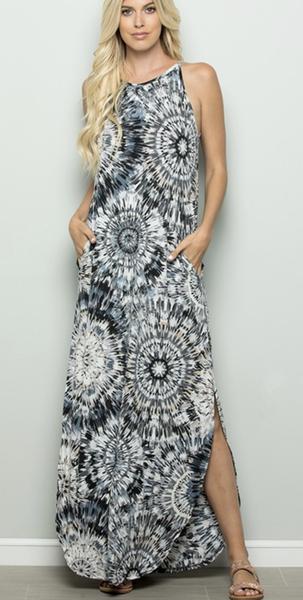 SMALL ONLY - Sleeveless Black & Ivory Maxi Dress