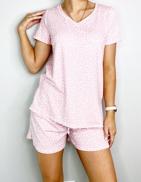 HoneyMe Pink Animal Print V-Neck Top