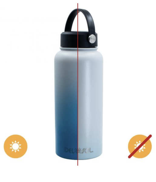 Del Sol Color Changing Water Bottle - Gray to Blue