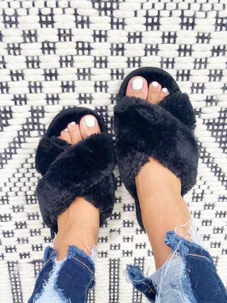 Corkys Slumber Faux Fur Slippers - Black