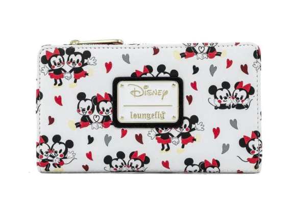 LOUNGEFLY X DISNEY MICKEY AND MINNIE MOUSE LOVE AOP WALLET