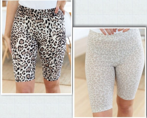 Cheetah Print Biker Shorts with Elastic Waistband