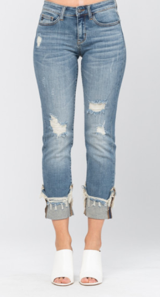 Judy Blue Stone Wash Cuffed Destroyed Relaxed Fit Mid Rise Jeans