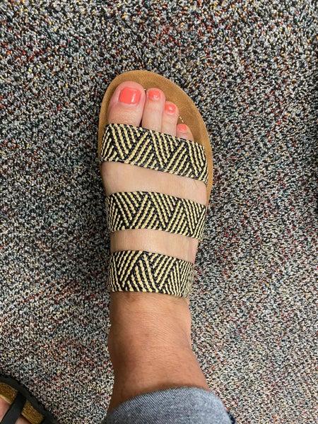 Corky's Daphne Black Woven Open Toe Sandal