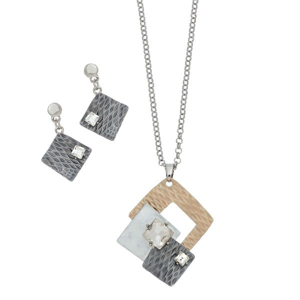 Three Tone Earrings and Necklace Set