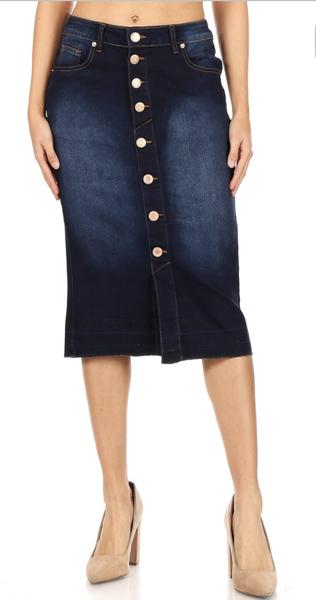 Denim Calf Length Pencil Skirt
