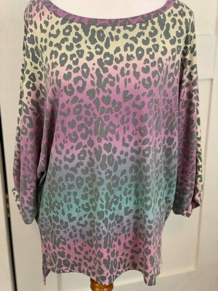 Honeyme Deep Multi Colored Leopard Dolman Sleeve Shirt
