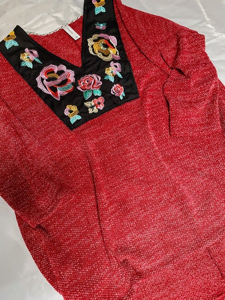 Honeyme Better Than Ever Top Embroidered Neckline