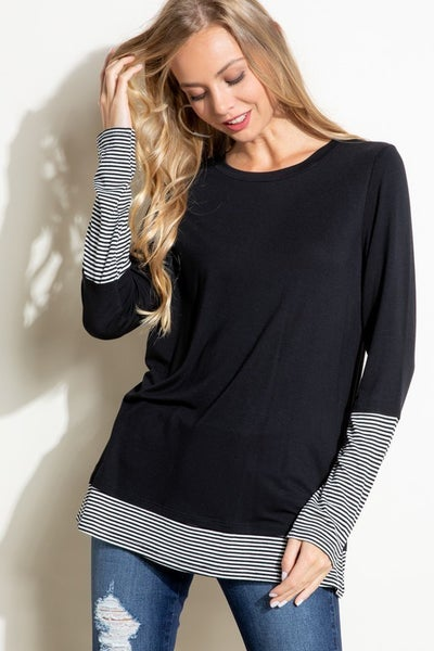 Solid Round Neck Boyfriend Top with Pin Stripe Mixed Sleeves