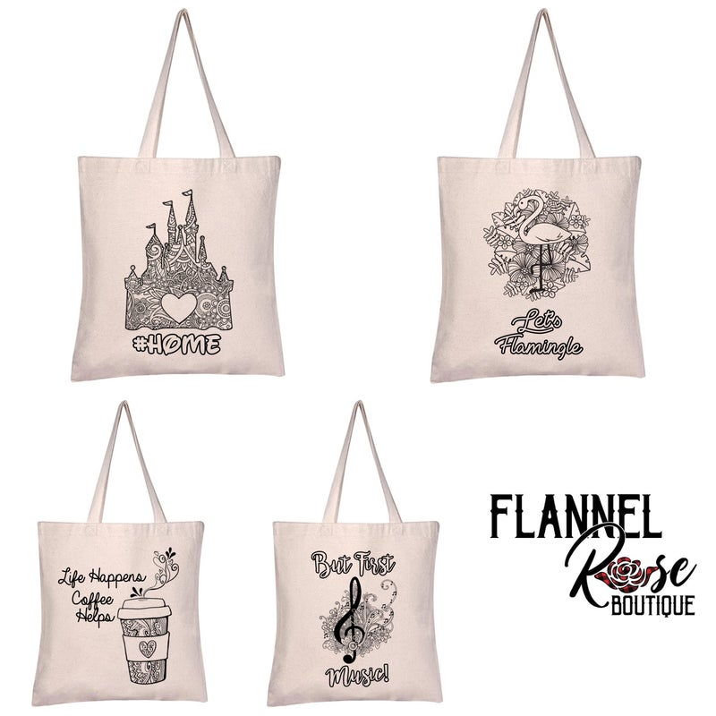 Adult Coloring Totes