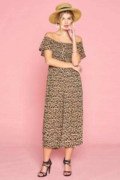 Leopard Printed Off-Shoulder Jumpsuit