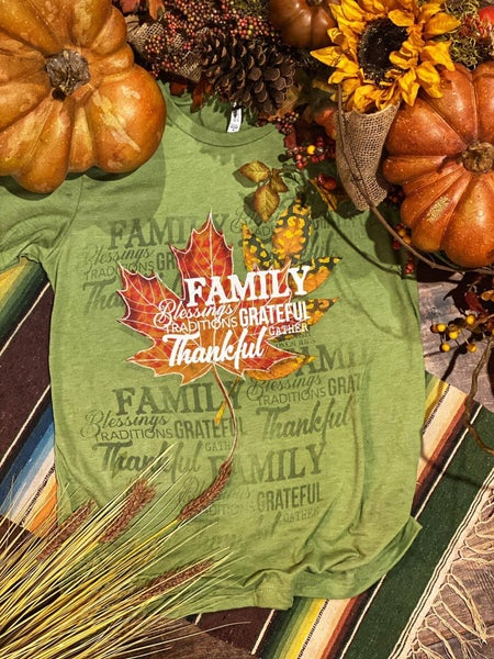 Family Grateful Thankful Maple Leaf Graphic Tee