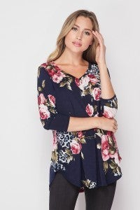 Navy Floral with Leopard
