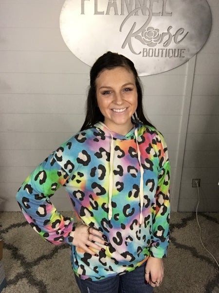 White Birch French Terry Multi Color Leopard Hoodie
