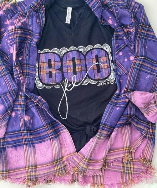 Purple Bleached Plaid Flannel