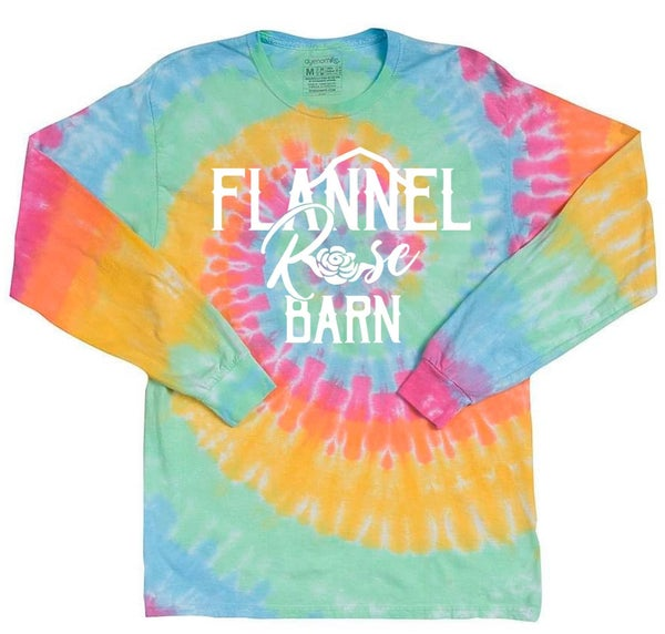 Flannel Rose Barn Tie Dye Long Sleeve Top