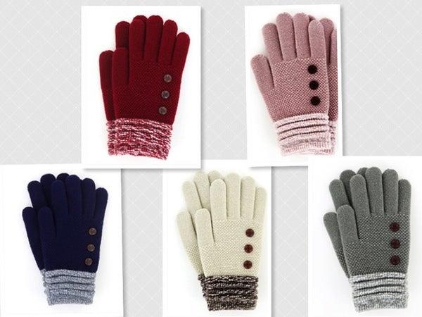 3 Button Knit Gloves