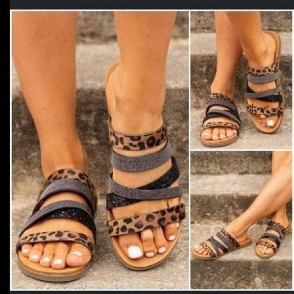 Multi Strap Leopard Print Slip On Sandal