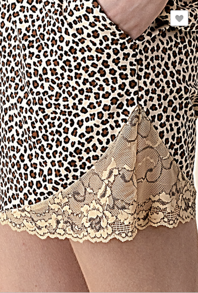 Brown Leopard with Lace Detail Shorts