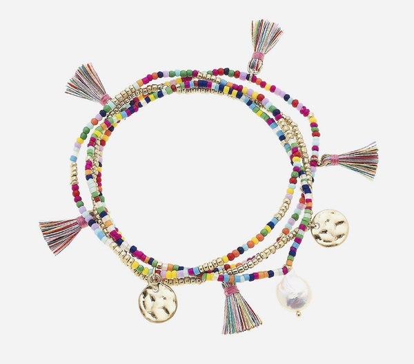 """Canvas"" Ava Layered Bracelet Set of 4 In Multi Colored Beads"