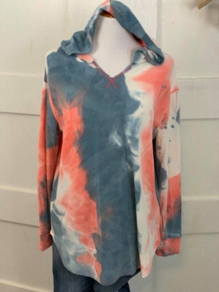 Honeyme Coral and Teal Tie Dye Long Sleeve Hoodie